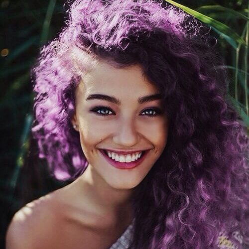 purple curly hair