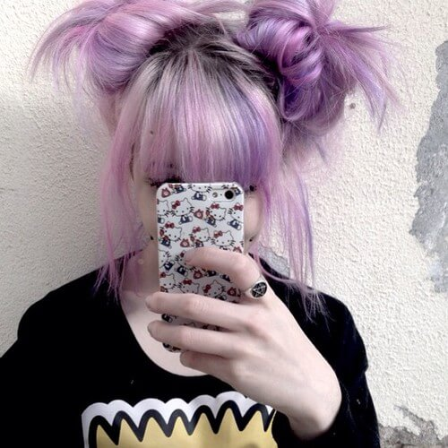 purple double buns