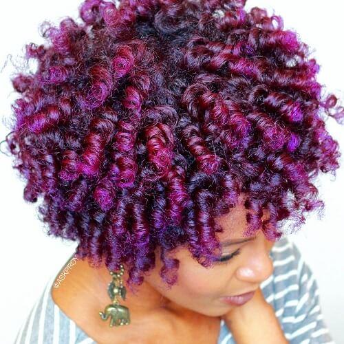 purple flat twist out curls