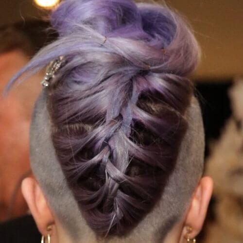 shaved purple haircut