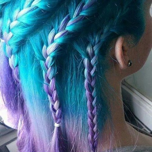 turquoise and purple braids