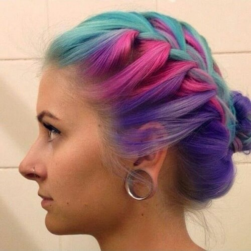 turquoise pink and purple mix