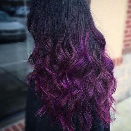 Black and Purple Wavy Ombre Hair
