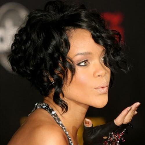 Rihanna Curly Angled Bobs