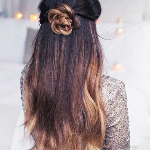 Half Up Flower Braided Bun