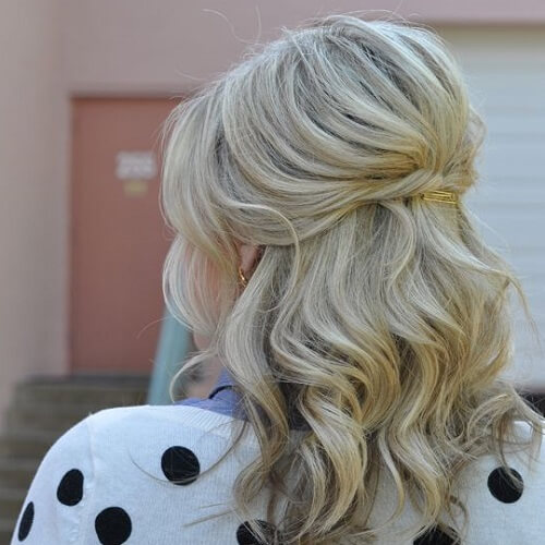 Half Up Half Down Hairstyles with Bobby Pins