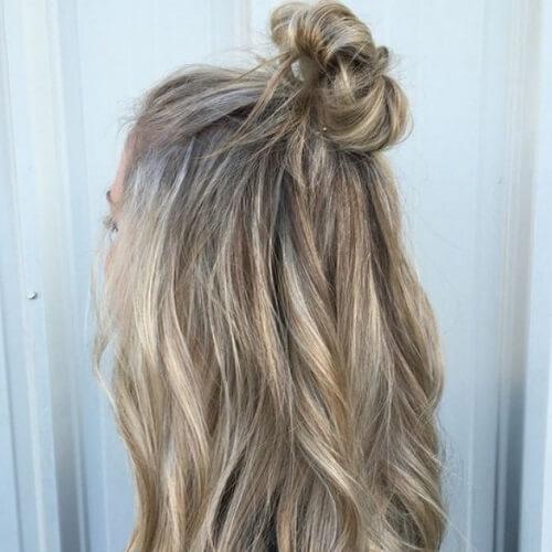 half up medium length hairstyles