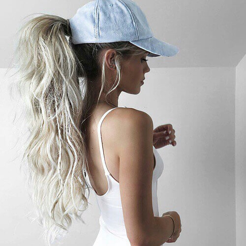 Ponytail and Cap Long Hairstyle