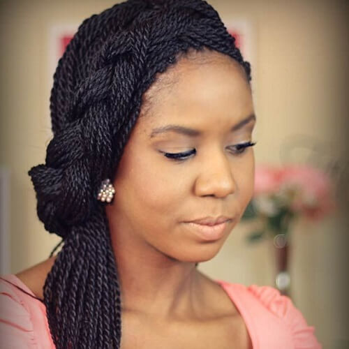 Side Senegalese Twist Hairstyles