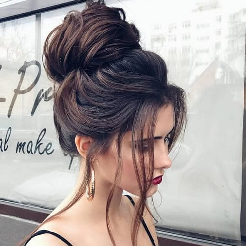 Swept Updo with Loose Strands