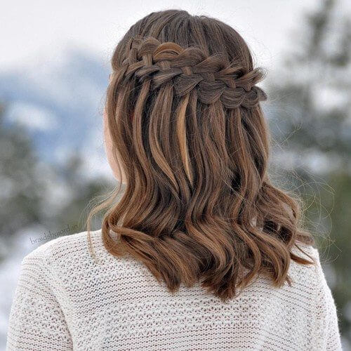 Waterfall Braid Medium Length Hairstyles for Women