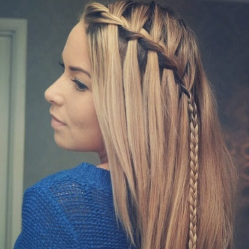 Waterfall Braid into Traditional Braid