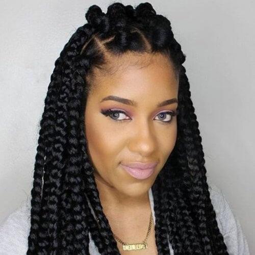 bantu knots with braids