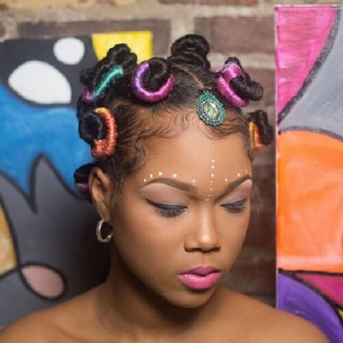 colorful bantu knots hairstyle