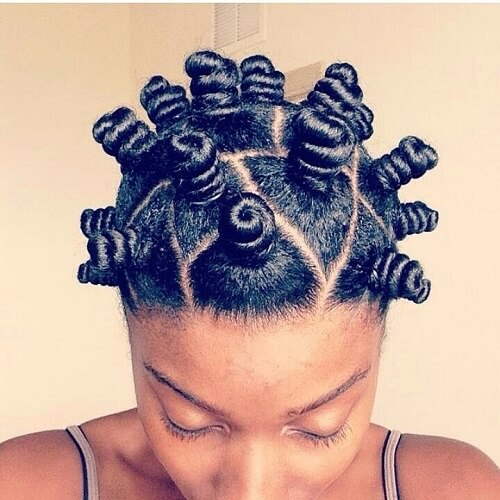bantu knots with part design