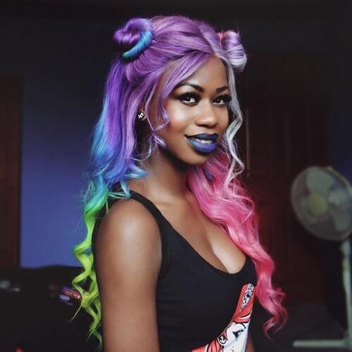 rainbow hair with bantu knots