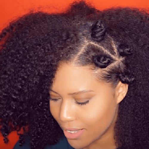 side knots and curly hair