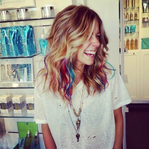 Blonde Highlights and Splashes of Rainbow