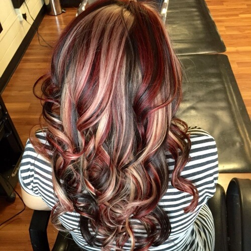 Blonde and Burgundy Highlights