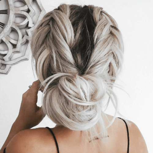 Loose Braids and Low Bun Hairstyles