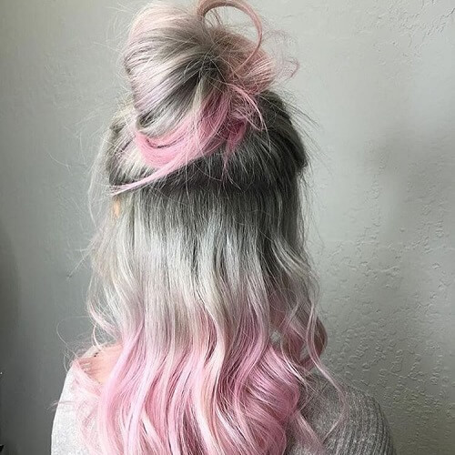 Pink and Gray Hair Ombre
