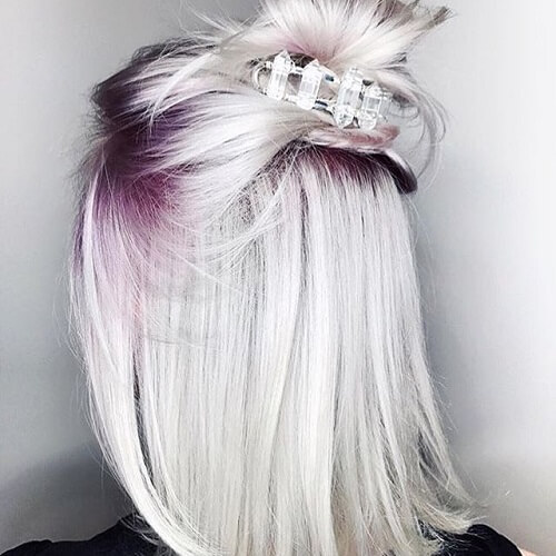 Purple Roots and Platinum Silver Hair