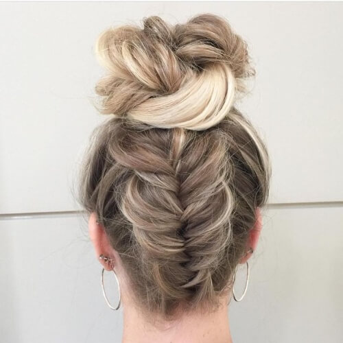 Reverse Fishtail Braid and Bun Hairstyles