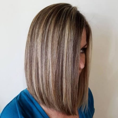 Straight Brown Hair with Blonde Highlights