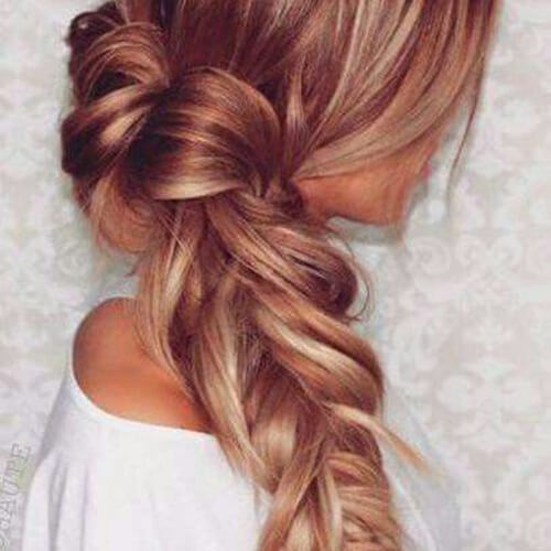 fishtail braid and highlights