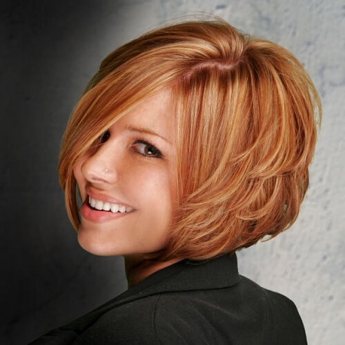 strawberry blonde bob