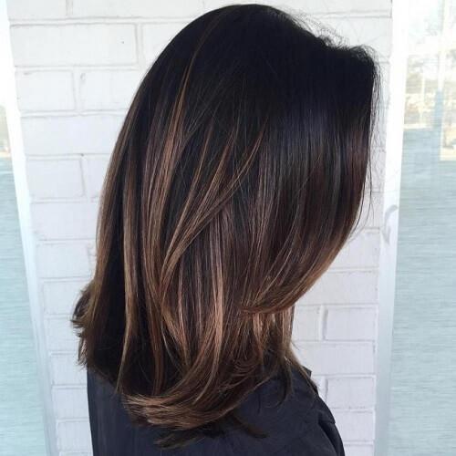 strawberry blonde highlights on black hair