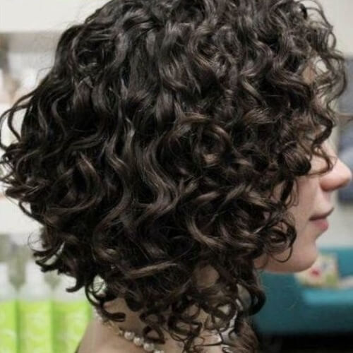 Angled Short Hairstyles for Curly Hair