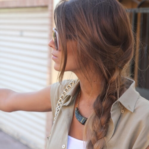 Boho Braid and Long Bangs