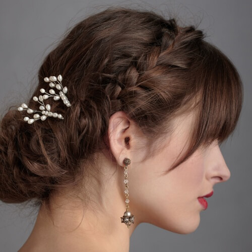 Braid, Bangs and Chignon Hairstyle