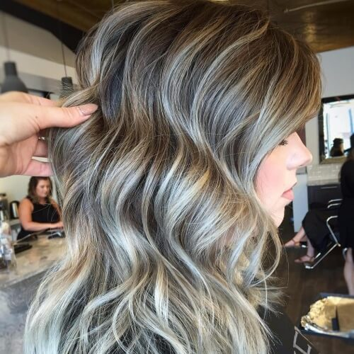 Brown and Silver Wavy Balayage
