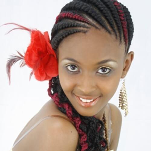 Curled Ghana Braid Hairstyle
