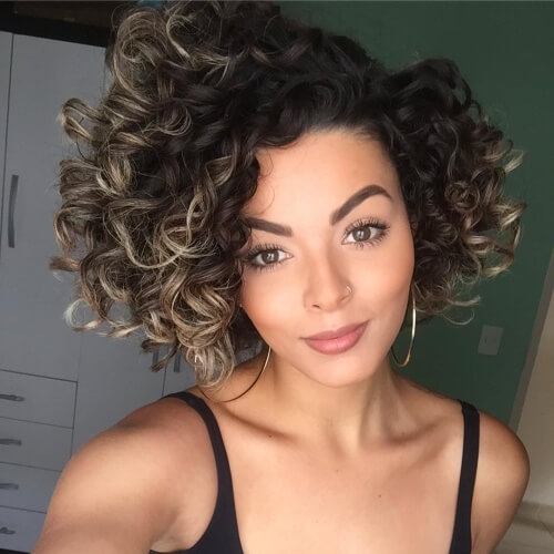 Curly Bobs with Highlights
