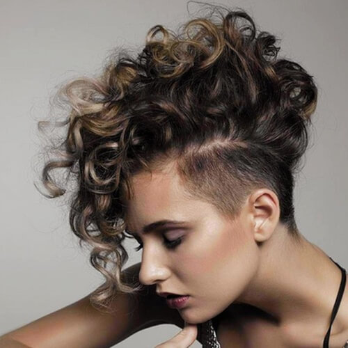 Curly Mohawks with Long Bangs