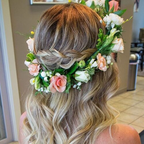 Flower Crown Wavy Hairstyle