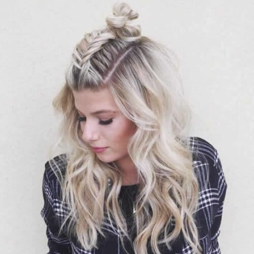 Half Up Fishtail Braid and Knot Hairstyle