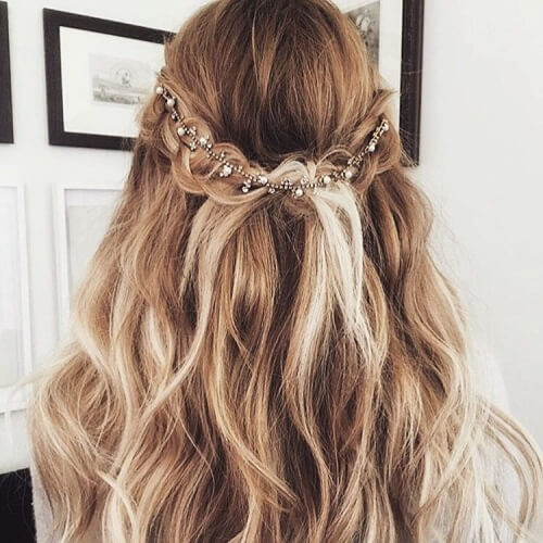 Half Up Wavy Hairstyle with Accessory