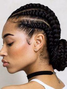 Low Bun Ghana Braids Styles