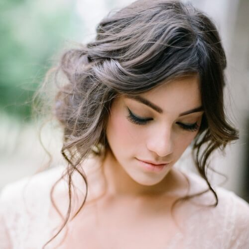 Low Wavy Updo Hairstyle