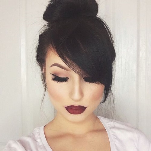 Messy Bun with Side Swept Bangs