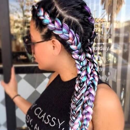 Pastel Rainbow Ghana Braids