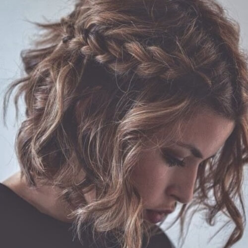 Short Curly Hairstyles for Women with Side Braid
