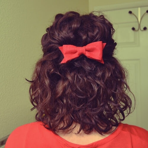 Shoulder Length Curls and a Bow