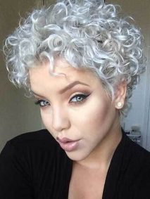Silver Short Naturally Curly Hairstyles