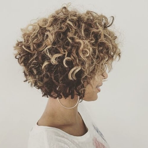 Stacked Bob Curly Short Hairstyles