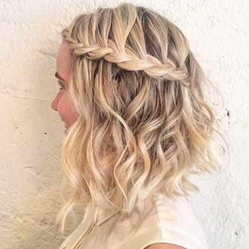Waterfall Braid and Long Bob Curls